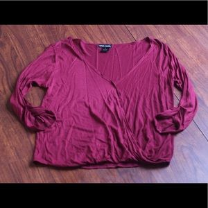 """Wet Seal Maroon """"Wrap"""" Top Small"""